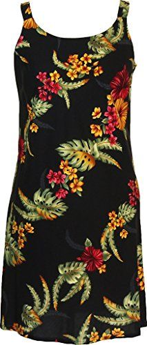 222422c84b7 RJC Womens Kailua Bloom Short Hawaiian Bias Cut Slip Dress Black Large      Check