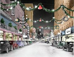 Ca 1940 - Photo of Houston St, all lit up for Christmas, view looking east.