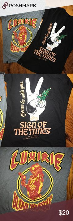 Graphic tees by LRG Two LRG ladies graphic tshirts size small. Listing is for both shirts. Lrg Tops Tees - Short Sleeve