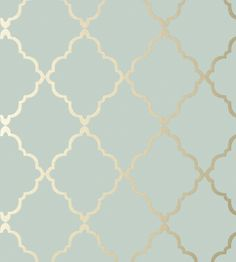 Klein Trellis - Metallic Gold on Aqua wallpaper, from the Seraphina Wallpaper collection by Anna French
