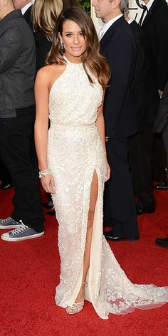 Lea Michele at 2013 Golden Globes in Elie Saab