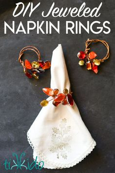 Make these elegant DIY napkin rings with some inexpensive craft rhinestones and wire. I made these in fall colors for Thanksgiving, but you could make them in any color palette. Christmas Napkin Rings, Christmas Napkins, Christmas Crafts, Christmas Tree, Thanksgiving Table, Thanksgiving Decorations, Fall Table, Harvest Decorations, Christmas Tablescapes