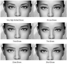 Different eyebrow shape on the same face, so you can see the effect different shapes have on the eyes and face