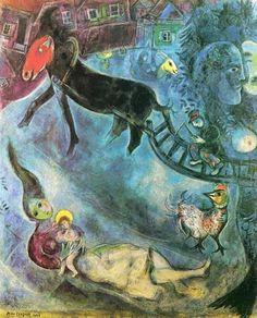 Acheter Tableau 'Madonna avec le traîneau' de Marc Chagall - Achat d'une reproduction sur toile peinte à la main , Reproduction peinture, copie de tableau, reproduction d'oeuvres d'art sur toile
