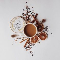 Flatlay Inspiration · via Custom Scene Hot drink with cinammon and Dried citrus fruit with embroidery. Coffee And Books, I Love Coffee, Coffee Break, Flat Lay Photography, Coffee Photography, Food Photography, Photography Packaging, Product Photography, Coffee Cafe