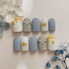 Summer Acrylic Nails, Best Acrylic Nails, Acrylic Nail Designs, Nail Art Designs, Korean Nail Art, Korean Nails, Soft Nails, Simple Nails, Anime Nails