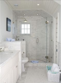 Bathroom layout possibility-Long narrow bathroom with shower stall, toilet pony wall, double vanity - add narrow storage in toilet side of pony wall for extra tp, etc. Long Narrow Bathroom, Small White Bathrooms, White Bathroom Decor, Bathroom Design Small, Bathroom Layout, Modern Bathroom, Bathroom Ideas, Bathroom Remodeling, Bathroom Designs