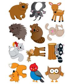 Go wild for these woodland creatures. Contains 3 each of the following forest animals: hedgehog, deer, bunny, skunk, fox, owl, beaver, bird, squirrel, raccoon, moose, and bear. A total of 36 die-cut shapes printed on card stock.