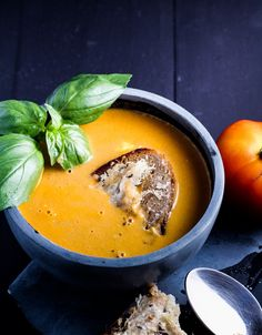 Spicy Fresh Tomato Soup with Caraway-Cheese Toasts {Katie at the Kitchen Door}