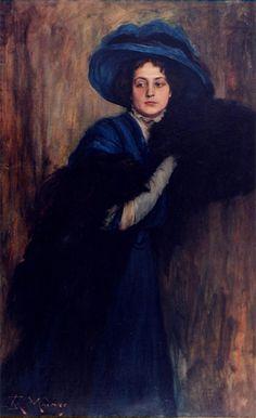 Portrait of a woman in blue  Raimundo de Madrazo y Garreta