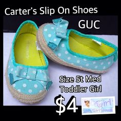 Carter's Size 5t Med Toddler Girl Slip on Shoes GUC $4 Buy this product right on Facebook https://admin.shoptab.net/linkbacks/221789799