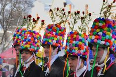 Shrovetide Procession Hats -- Masopust is a traditional Czech Mardi Gras type of celebration that takes place in Czech communities all around the world. It occurs the first weekend before Lent. It is the welcoming of spring, fertility and a good harvest.