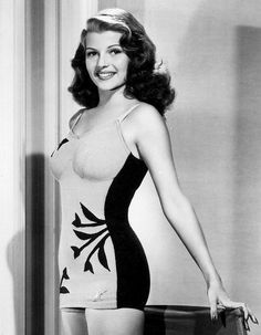 Rita Hayworth in a one-piece bathing suit, just beautiful. These old fashioned suits were quite flattering and attractive. Hollywood Icons, Old Hollywood Glamour, Golden Age Of Hollywood, Vintage Glamour, Vintage Hollywood, Hollywood Stars, Vintage Beauty, Hollywood Actresses, Classic Actresses