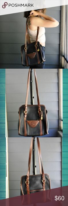 """Vintage D&B Matching Purse and Wallet Fantastic vintage heavy-duty purse and matching wallet! With long straps and 2 exterior pockets this will is such a super adorable purse!  Measurements: Depth: 3""""  Height: 10.5""""  Width: 9""""  Condition: OK vintage condition, corners are worn through and interior and exterior has a few scuffs Dooney & Bourke Bags Shoulder Bags"""