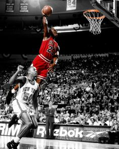 Prepare for takeoff! This iconic photo art piece captures the Chicago Bulls Michael Jordan as he takes flight over Greg Anthony at Madison Square Garden against the Knicks during the 1993 NBA Season.