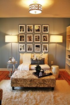 For blank bedroom wall. . . Classic black & white prints framed separately as large art piece on wall. (possibly add color by using same vibrant color for matting in frame)