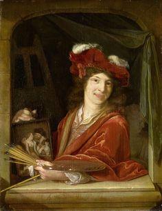 Adriaen van der Werff   A young Painter, Adriaen van der Werff, 1670 - 1690   Een lachende jonge schilder, ten halven lijve, in een stenen venster, een baret met pluimen op het hoofd. In de rechterhand een schilderij met een liefdespaar, in de linkerhand palet, penselen en schildersstok.