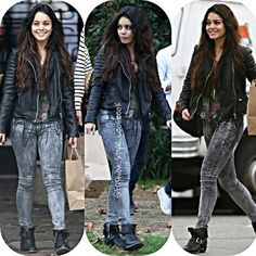 #vanessahudgens #ashleytisdale #thecarriediaries #austinbutler #boyfriendjeans #boyfriendjeans #boyfriend #handsome #carrie #grunge #look #wow #hair #stellahudgens #sister #leatherjacket #printedpants #prints #fashion #Style #music #musicvideo #hipster #smile... - Celebrity Fashion
