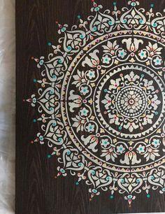 Mandala Art, Mandala Design, Stencils Mandala, Mandala Painting, Mandala On Canvas, Stencil Wall Art, Wall Stencil Patterns, Stencil Painting, Stencil Designs