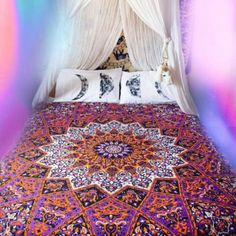 Buy Magical Night Cute Mandala Tapestry Twin Dorm Bedding Hippie Beach Throw on reasonable price. Discover unique dorm room decor ideas with jaipurhandloom. Tapestry Curtains, Dorm Tapestry, Tapestry Bedroom, Tapestry Wall Hanging, Bedspread, Wall Hangings, Bohemian Dorm, Bohemian Tapestry, Hippie Tapestries