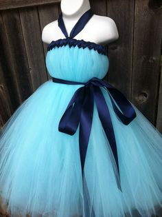 Flower Girl Dress- Tiffany Blue Tutu Dress with Navy Blue Sash-Size 6 months up to 3T