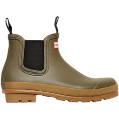 HUNTER Rubber Short Rain Boots (195 CAD) ❤ liked on Polyvore featuring mens, men's shoes, men's boots and khaki