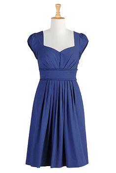 Pleated frill trim poplin dress
