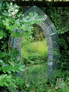 Mosaic Garden Mirror Placed on Wall October Photographic Print by Mark Bolton at eu.art.com