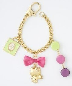 a242ce51d03b rare Laduree Hello kitty macaroon strap charm key ring box set Limited new