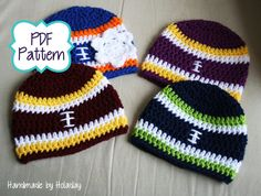 Crochet Football Beanie - Pattern Only {Handmade by Holaday}