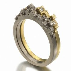 Stacking rings | Jo Hayes Ward.  18k warm and cold white gold, diamonds.