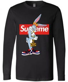 Bugs Rabbit Supreme Long Sleeve - Bunny Fans Shop Animated Cartoon Characters, Tee Design, Graphic Sweatshirt, T Shirt, Supreme, Bugs, Tank Man, Rabbit, Trending Outfits