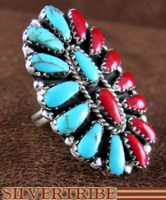 Native American Navajo Sterling Silver Turquoise And Coral Ring Size 6-3/4 DS53187