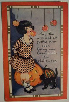 May the blackest cat you've ever seen, bring you good luck this Halloween - Vintage Halloween postcard