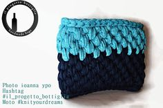 Tshirt yarn blue bag Eco-friendly bag Vegan clutch Crochet