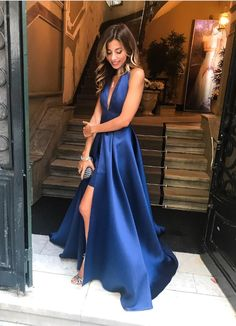 Sexy Halter Backless Blue Satin Evening Long Dresses with Front Slit