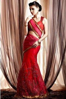 Ombre Red Embellished Net Lehenga
