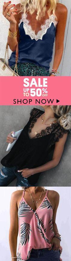10d4debb395ba8 Sexy V-Neck Sleeveless Blouse Cami Lace Patchwork Vest Shirts