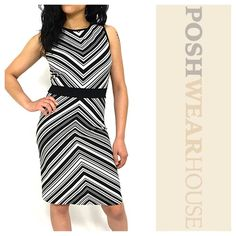 """Black & White Chevron Shift Dress Pullover application • GREAT stretch • Length 38"""" • Bust 38""""-44"""" • Waist 34""""-38"""" • Hips up to 50"""" • Polyester & Spandex • Size 8, but, fits a LARGE 12/14.   Like what you see? Follow me!  On PM @PoshWearHouse  On IG www.instagram.com/PoshWearHouse  On FB www.facebook.com/PoshWearhouse Dresses Midi"""
