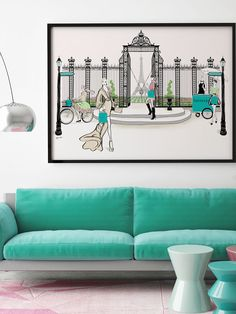 Tiffany's Paris Gate  - Illustration - Framed Limited Edition Print - Tiffany La Belle