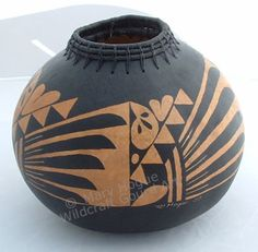 "Coiled Zuni Pot 7"" H x 7"" W Mary Hogue - Wildcraft Gourd Art"
