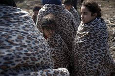 Syrian refugee girls are wrapped with blankets following their arrival on an overcrowded dinghy on the Greek island of Lesbos, after crossing a part of the Aegean Sea from the Turkish coast, October 1, 2015. A record number of at least 430,000 refugees and migrants have taken rickety boats across the Mediterranean to Europe this year, 309,000 via Greece, according to International Organization for Migration figures. REUTERS/Dimitris Michalakis