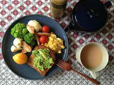 今朝から野菜&たんぱく質を意識。 アボカドは朝だけ。 tk