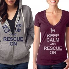 "The purchase of the ""Keep Calm and RESCUE"" hoodie and tee sparks a $10 donation to save Johnny. Hit by two cars and a truck, Johnny is struggling for his life and needs your help with his recovery.  		  			Made from 60% combed cotton/40% polyester jersey, the ""Keep Calm and RESCUE"" hoodie and tee help to cover Johnny\'s vet bills."