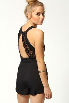 Polkadot Cutaway Shoulder Lace Back Playsuit Black