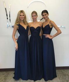 L8 Navy Blue Spaghetti Straps Bridesmaid Dresses, Long Chiffon Lace Bridesmaid Dresses