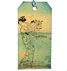 Geisha with child and toys / Unmounted rubber stamp by MAKIstamps, €4.70