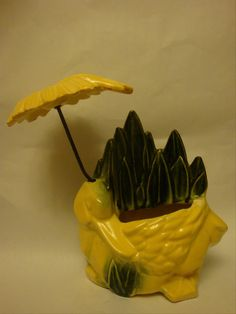 1950s McCoy Duck with Umbrella planter.