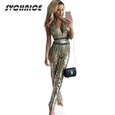 8ed2ef8e9d6 Ladies Elegant Jumpsuit Party Clubwear Fashion Summer Sexy Overalls 2018  Backless Sequin Jumpsuit For Women Gold