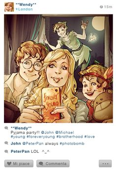 Selfie Fables! Wendy and Peter For more illustrations, follow me on Facebook